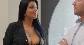 Buxom brunette Romi Rain giving head for cumshot on face and tits № 356128 без смс